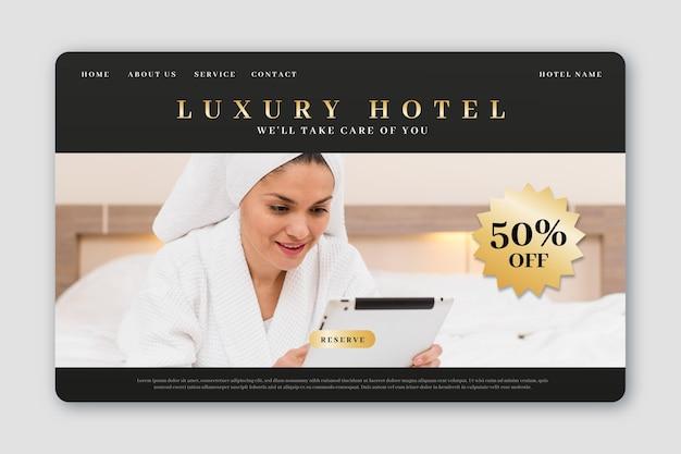 Hotel bestemmingspagina sjabloon met foto