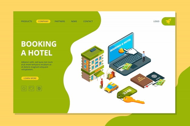 Hotel boeken. bestel online zoekreservering hotelkamer appartement voor reizigers isometrische afbeeldingen