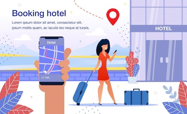 Hotel boeken smartphone app platte vector advertentie poster