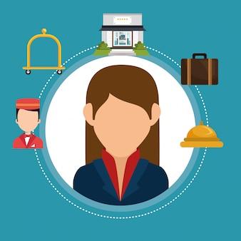 Hotel consierge werkende avatar karakter