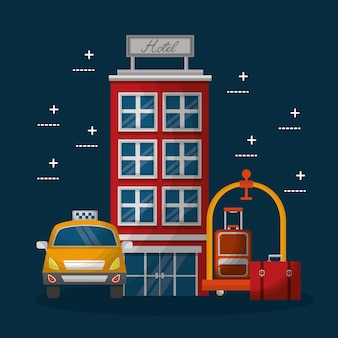 Hotel gebouw taxi en koffer bagagekar met handtas