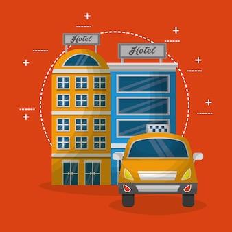 Hotel gebouwen taxi service vervoer vectorillustratie