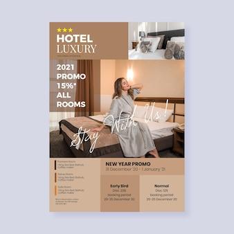Hotel informatie folder sjabloon met foto