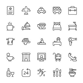 Hotel lijn pictogrammen