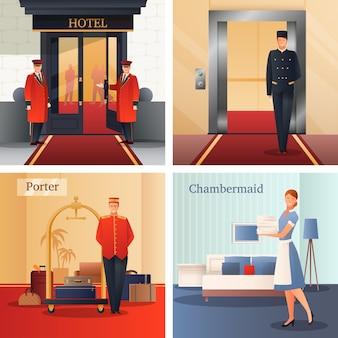 Hotel personeel ontwerpconcept
