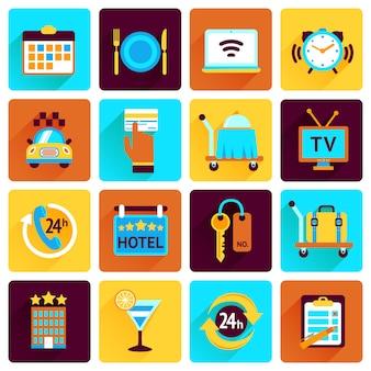 Hotel pictogrammen platte set