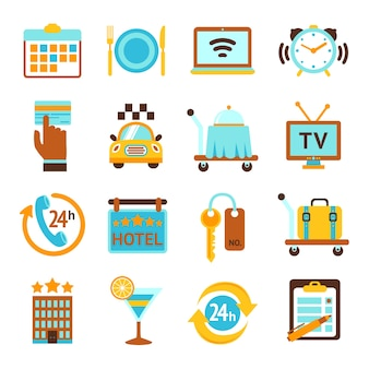 Hotel reizen 24 uurs roomservice flat icons set met ontbijt klok en mobiele tv geïsoleerde vector illustratie