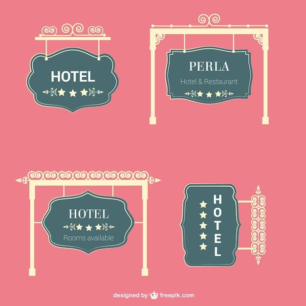 Hotel retro tekens vector