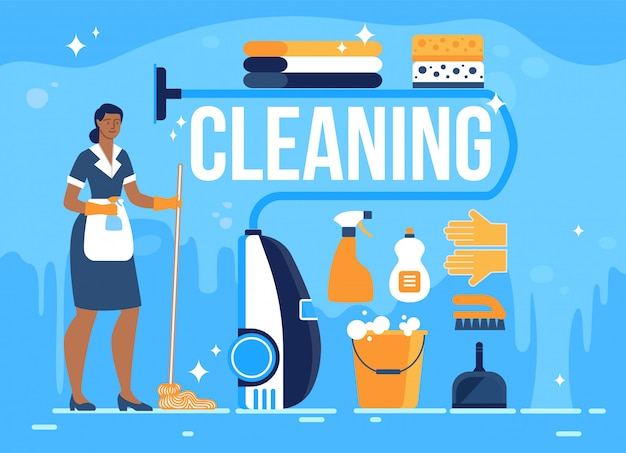 Hotel room cleaning service flat banner
