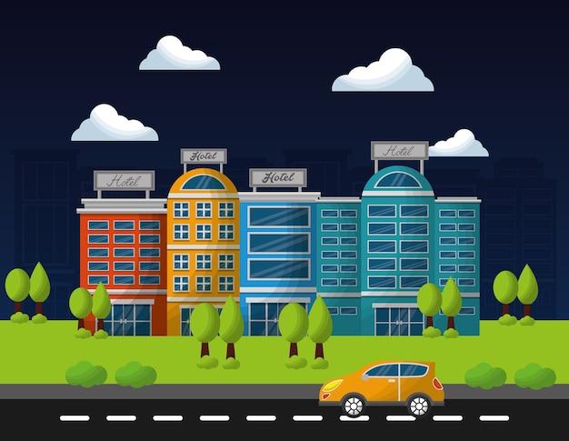 Hotel service gebouwen straat boom en taxi auto