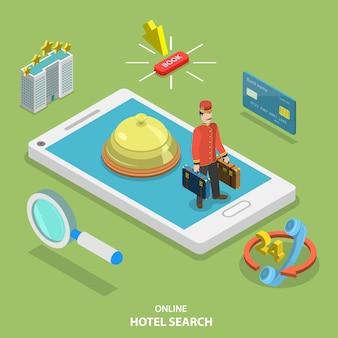 Hotel zoeken online platte isometrische vector concept.