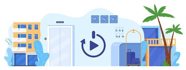 Hotelbedrijf herladen vectorillustratie. cartoon platte hotelservice, hostel en pension begonnen te werken, toeristische reizende gasten ontvangen, toerisme herladen