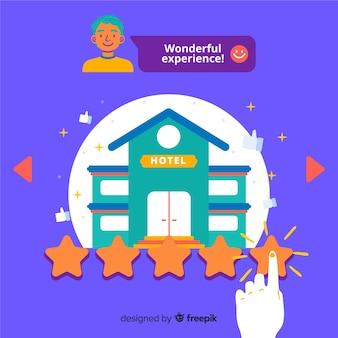 Hotelbeoordeling concept illustratie in platte ontwerp