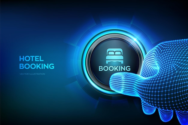 Hotelboeking. online reserveren. mobiele applicatie voor het huren van accommodaties. reizen en toerisme concept. close-upvinger die op het punt staat op een knop te drukken. druk gewoon op de knop. vector illustratie.