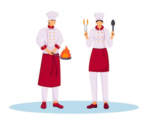Hotelchef-koks in uniforme kleurenillustratie. keukenpersoneel, bedienend personeel, restaurantpersoneel. twee koks met kookgerei stripfiguren op witte achtergrond