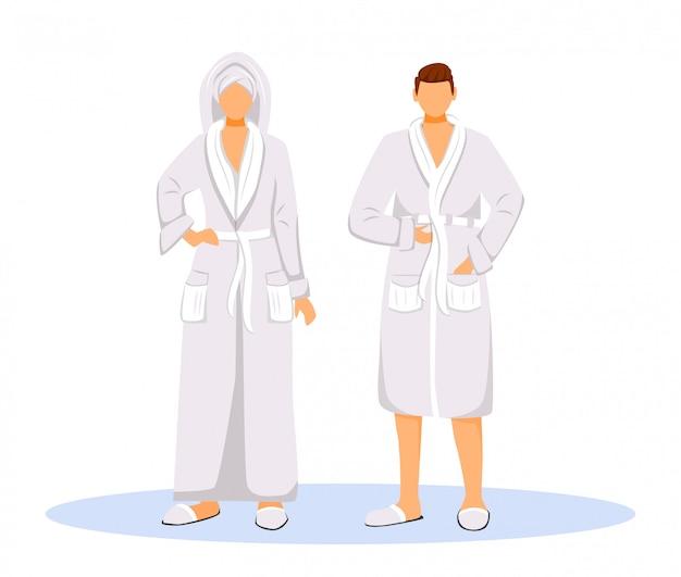 Hotelgasten die vectorillustratie van de badjassen de vlakke kleur dragen. vrouw met handdoek op hoofd en man. paar in gewaden. mensen na douche geïsoleerde stripfiguren