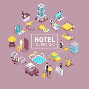 Hotelgebouw faciliteiten isometrische illustratie