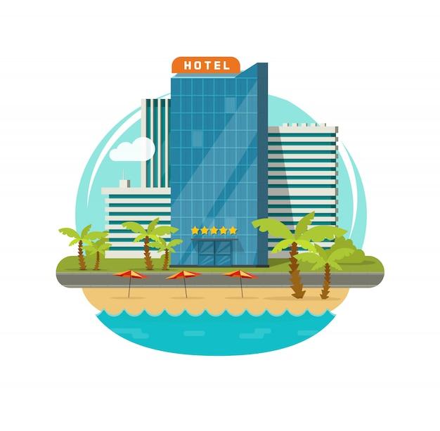 Hotelgebouw in de buurt van zee of kust resort weergave vector illustratie platte cartoon