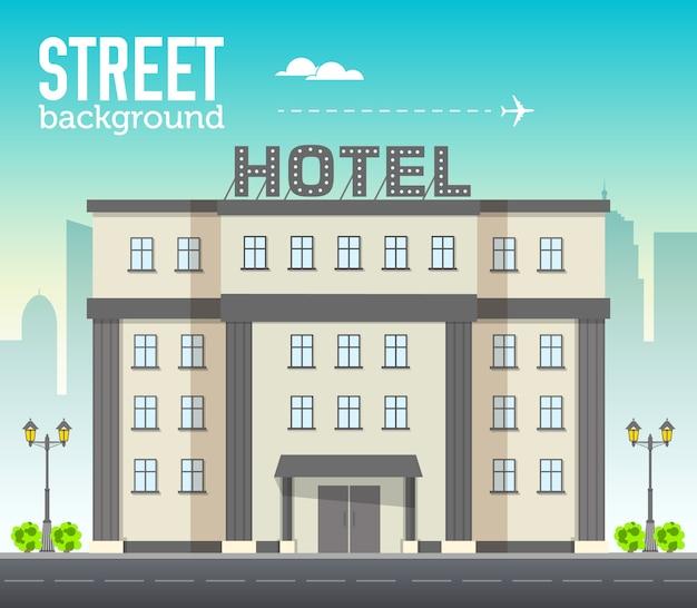 Hotelgebouw in stadsruimte met weg op vlakke syle achtergrondconcept