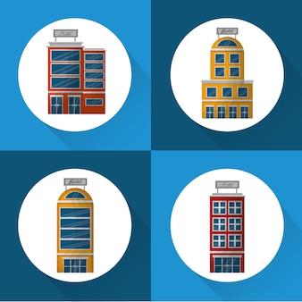 Hotelgebouw kleurrijke stickers die vectorillustratie onderbrengen