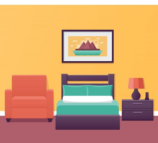 Hotelkamer interieur in vlakke stijl. slaapkamerhuisontwerp met bed en fauteuil. illustratie.