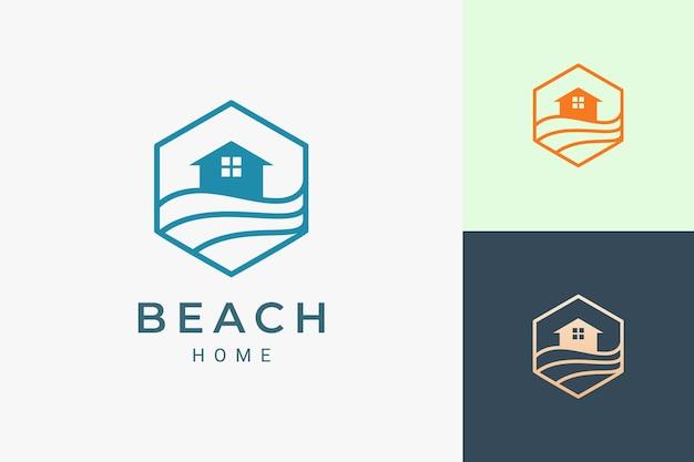 Hotellogo met zee- of strandthema in eenvoudige lijn en zeshoekige vorm