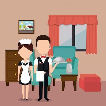 Hotelmedewerkers avatars karakters