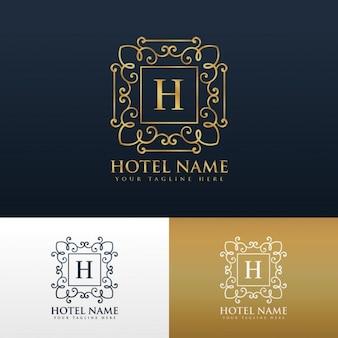 Hotelmerk logo ontwerp met letter h