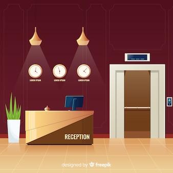 Hotelontvangst naast liftachtergrond