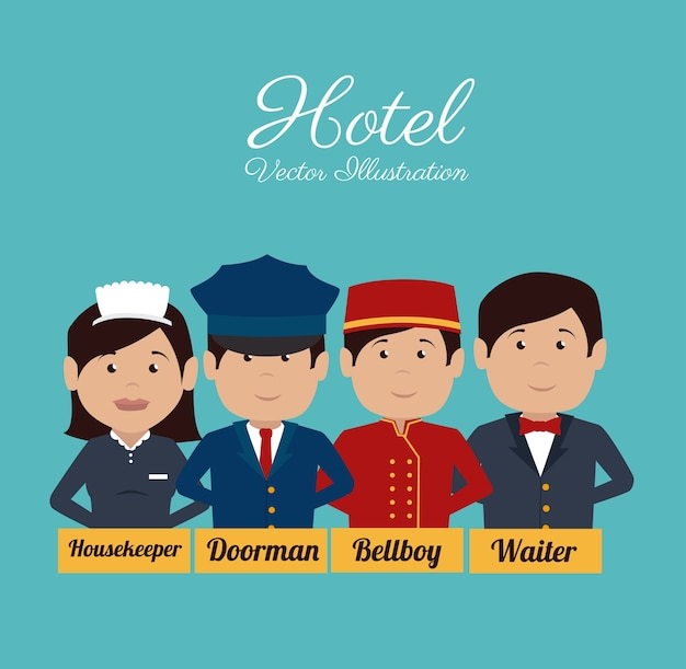 Hotelontwerp, vectorillustratie.