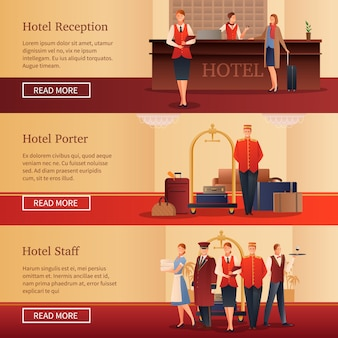 Hotelpersoneel flat banners