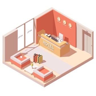 Hotelreceptie of lobby interieur dwarsdoorsnede