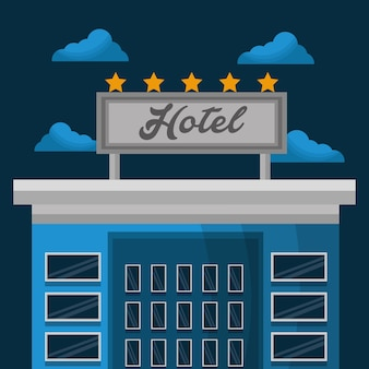 Hotelservice gebouw onderdak wolken vectorillustratie