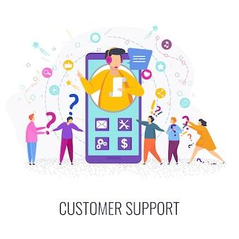 Hotline-operator adviseert klant. man in de callcenter-serviceondersteuning beantwoordt vragen van klanten. online wereldwijde technische ondersteuning.