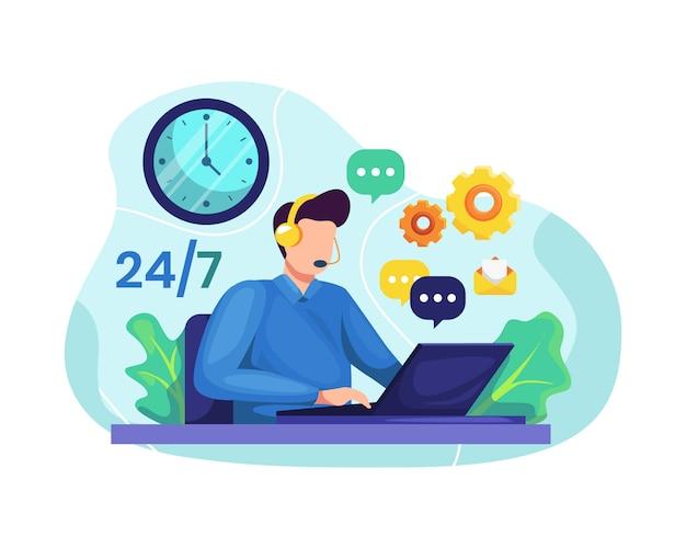 Hotline-operator adviseert klant