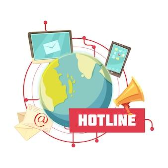 Hotline retro cartoon design Gratis Vector