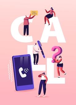 Hotline-service, illustratie van het callcenter