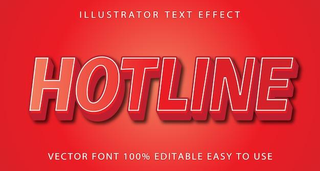 Hotline vector bewerkbaar teksteffect