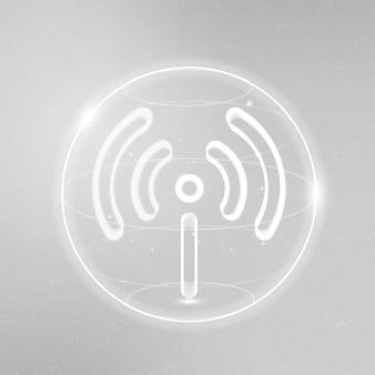 Hotspot netwerk technologie pictogram vector in wit op verloop achtergrond