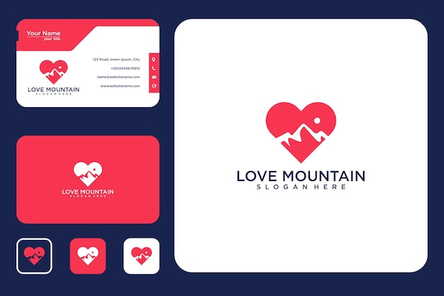 Hou van berglogo-ontwerp en visitekaartje
