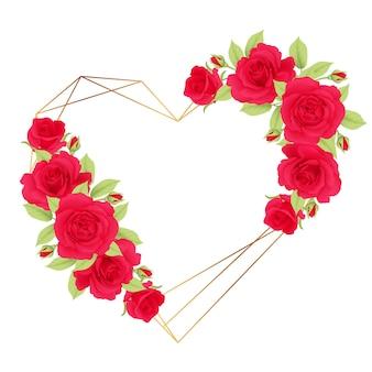Hou van bloemen frame achtergrond met rode rozen