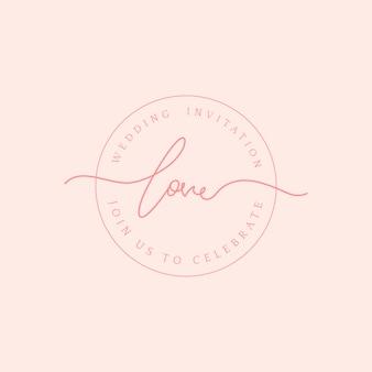 Hou van bruiloft uitnodiging badge ontwerp vector