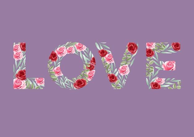 Hou van citaat met romantisch bloemenpatroon voor bruiloft, verloving, valentijn wenskaart, banner