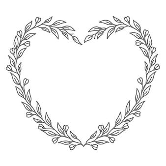 Hou van concept met lijntekeningen bloemen hart illustratie
