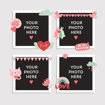 Hou van fotolijst. valentijnsdag ontwerp voor foto met hart, schattige vogel en gelukkige konijnen, kat en romantische bloem