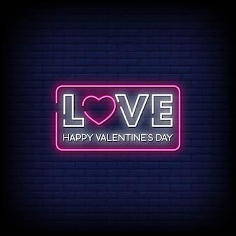 Hou van happy valentine's day neon signs style text vector