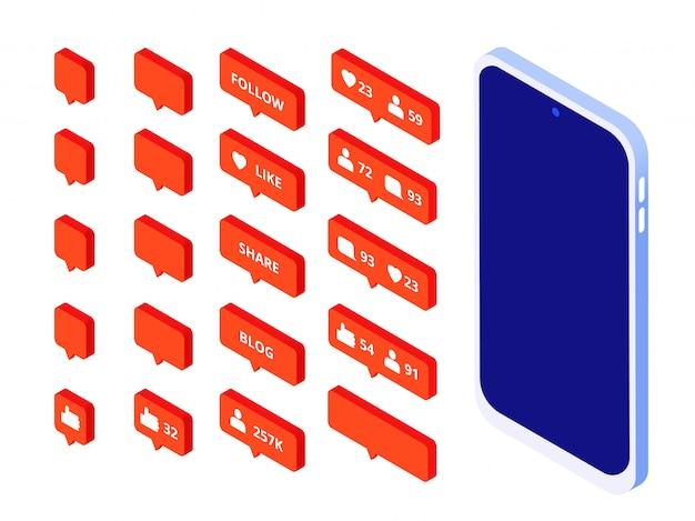 Hou van isometrische knoppen. instagram-geïnspireerde volgpictogrammen houdt van knopvolger blogger-website stellen snapchat blogset op de hoogte