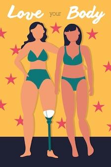 Hou van je lichaam belettering met meisjes koppel perfect onvolmaakt vector illustratie ontwerp