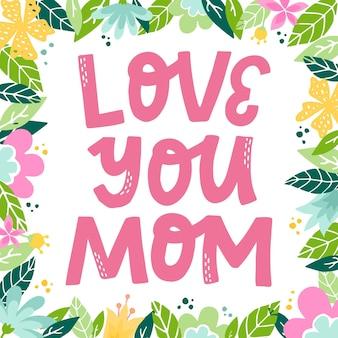 Hou van je moeder belettering citaat voor moederdag
