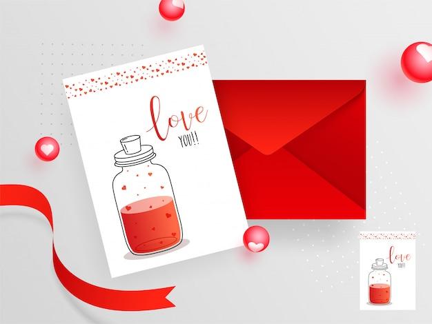 Hou van je wenskaart ontwerp met envelop voor viering